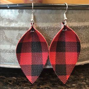 Large. Buffalo plaid faux leather earrings. Large.